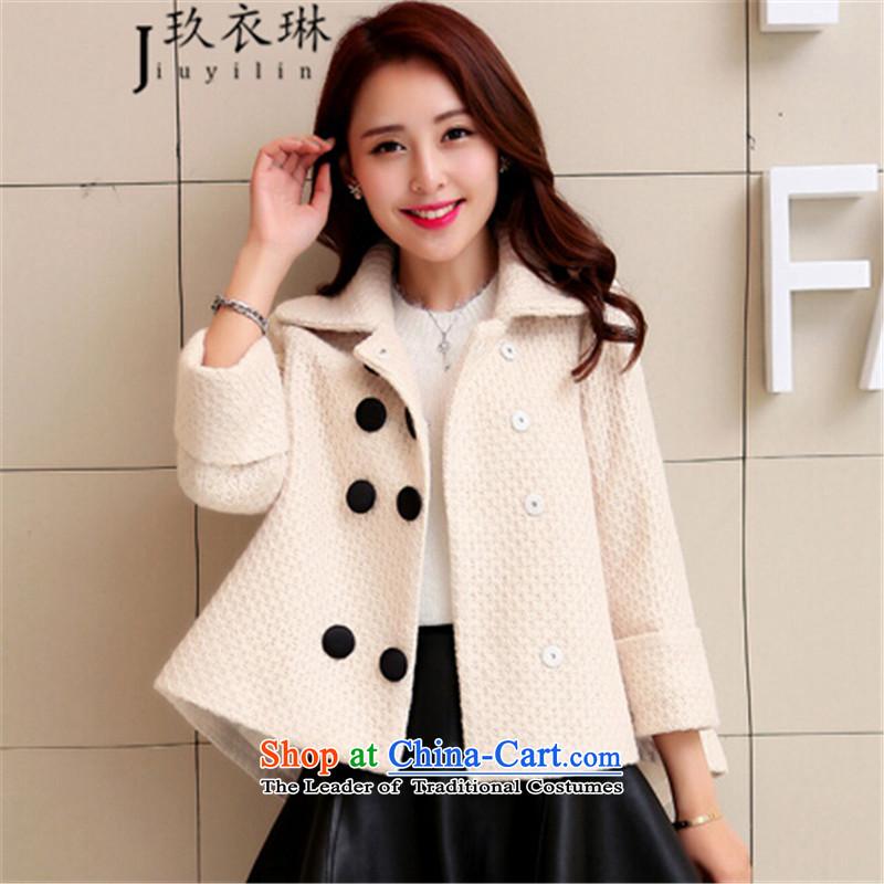 Ko Yo Yi Lin a wool coat 2015 New Product gross shortage of female jacket? Korean Sau San cloak women small-wind gross coats female m White?M