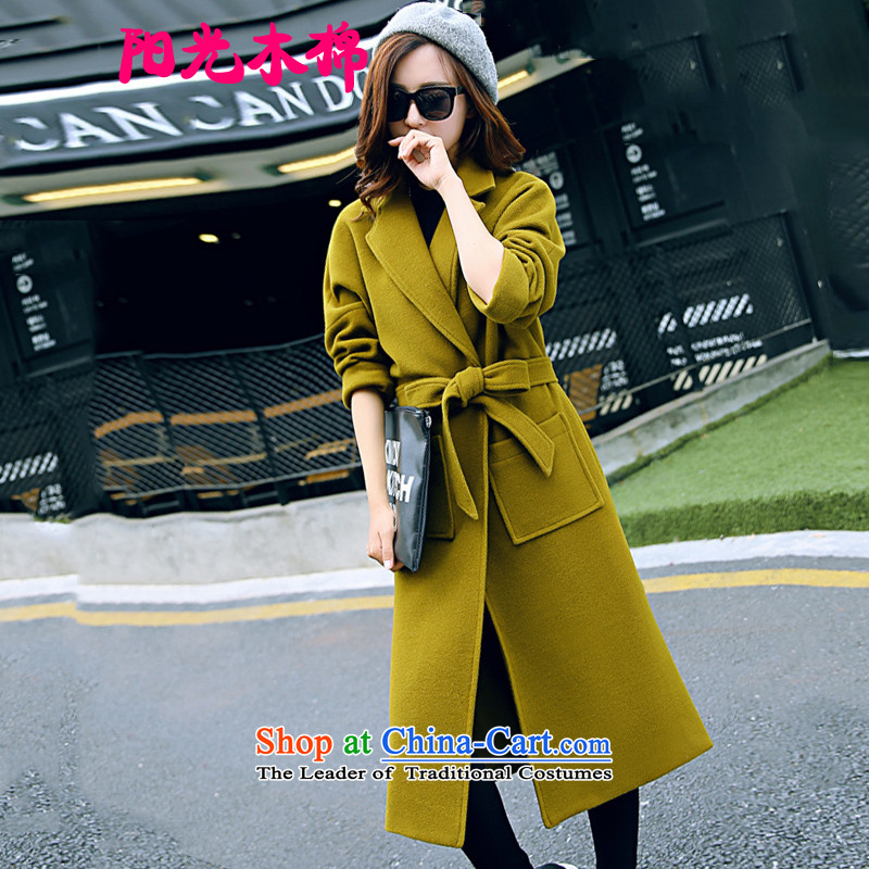 The sunshine of kapok聽2015 winter clothing new Korean version of Sau San? In gross coats of a wool coat dark green jacket聽M