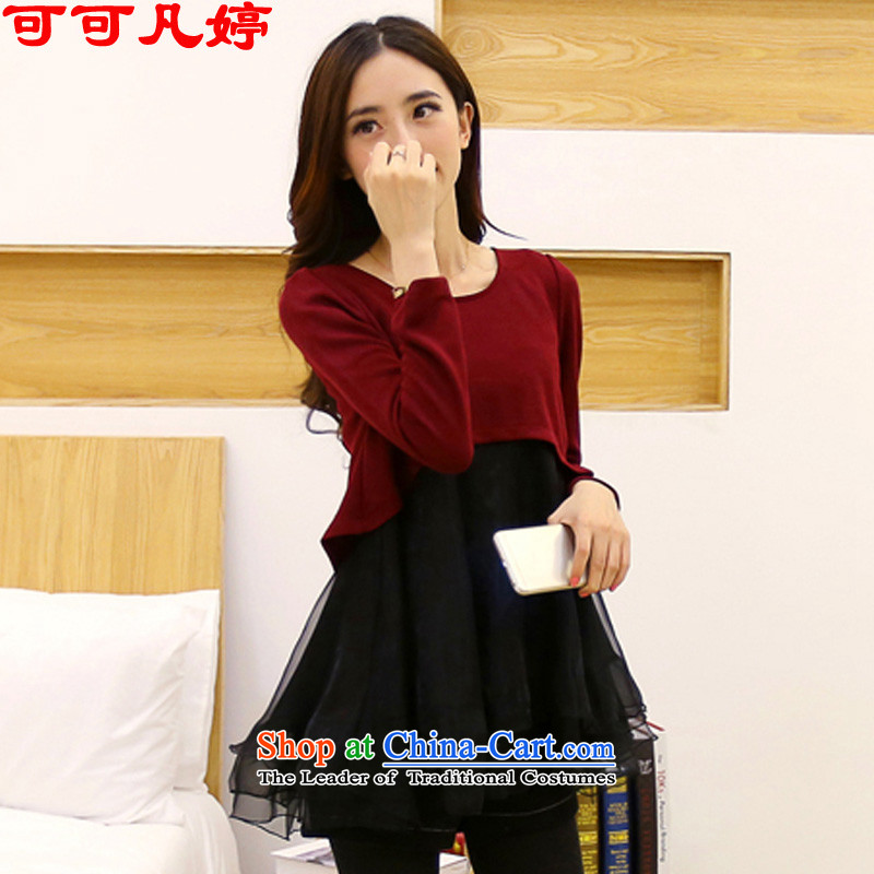 Cocoa where Ting 2015 autumn and winter new Korean version of large numbers of ladies' knitted eugen duerrwachter MM thick yarn series dresses girls spell 8195�L wine red