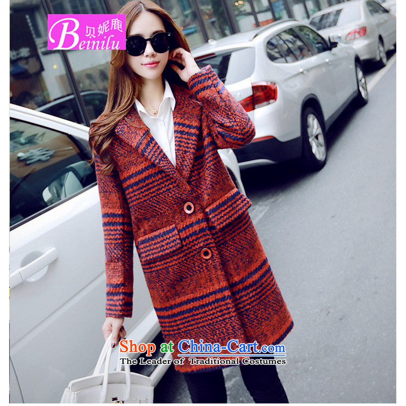 Connie Deer 2015 Autumn Addis Ababa new gross overcoats in this long, large segments of the Korean version of wool? red燣