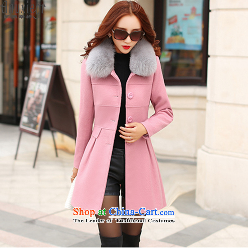 Arnold Singh _anuxiegr_2015 autumn new for women in long coats cocoon-_?? coats female decreased from 8,135 gross pink燣
