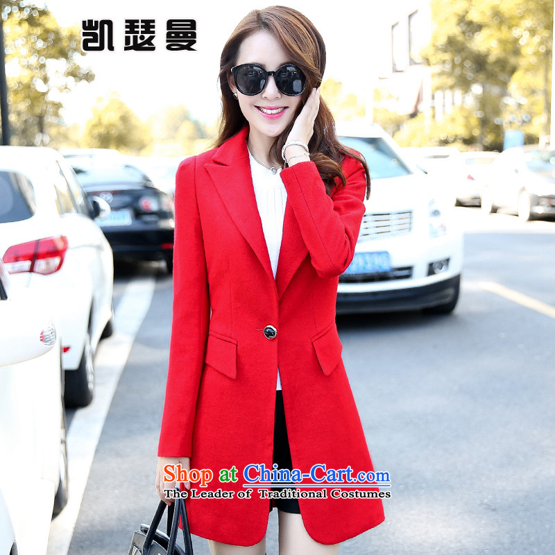 Catherine Cayman 2015 Fall_Winter Collections new gross female Korean jacket? In the long coats women 1107 gross? red XL