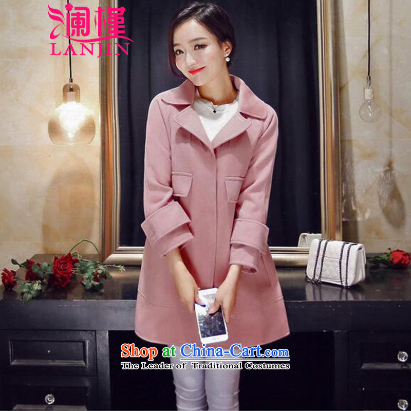 The World's 2015 Fall_Winter Collections New hand-sided flannel woolen coat female jacket coat girl in gross? Long 2134 pink S