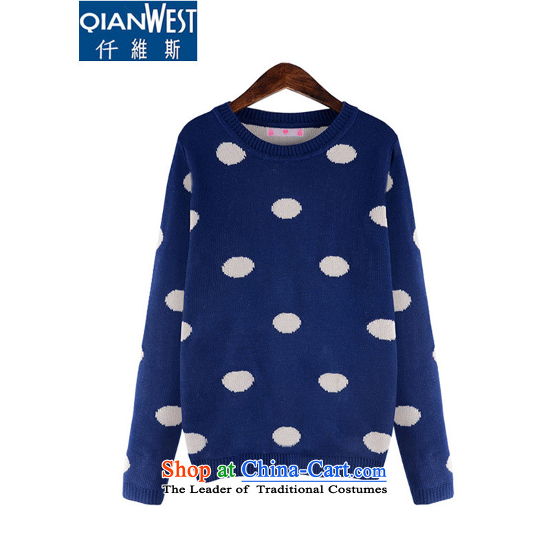 The Scarlet Letter, thick sister larger sweater 2015 Western large women with new expertise autumn MM simple dot woolen pullover 675 Blue 4XL recommended weight 160-180 catty