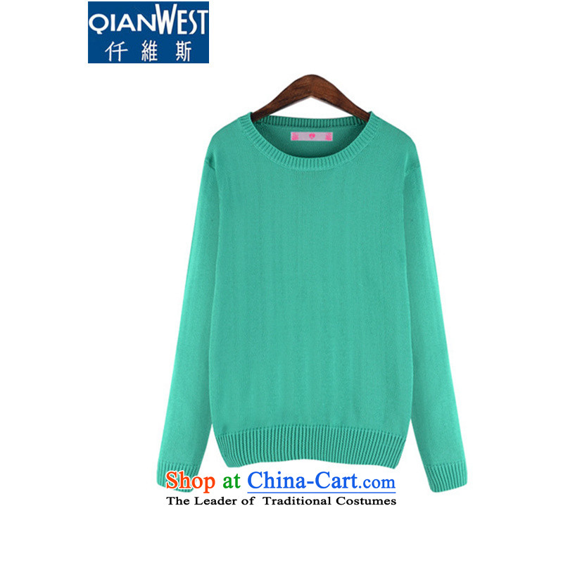 The Scarlet Letter, larger female thick sister Sun-Dok�15 Fall_Winter Collections Western new long-sleeved Pullover sweater thick solid color candy MM 672 green�L sweater�0-215 recommended weight catty
