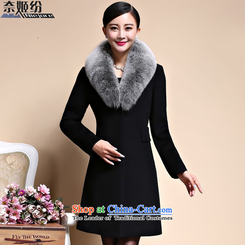 The Suu Kyi as 2015 autumn and winter new temperament Sau San video thin nagymaros for long jacket, coats female 360_ gross? black� L