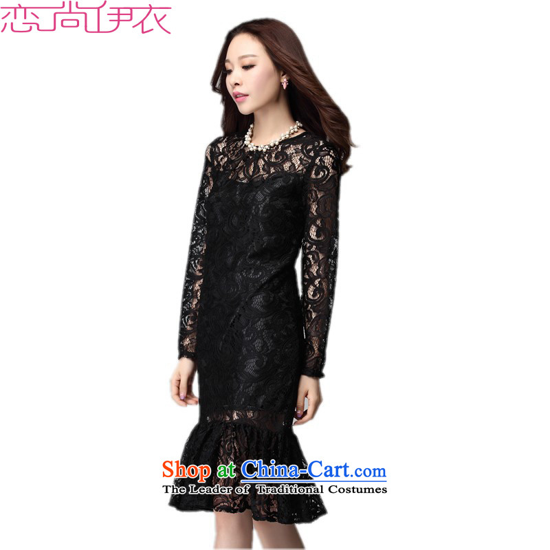 C.o.d. Package Mail to xl dresses autumn 2015 new boxed lace wine red long-sleeved gown bows skirt thick mm thin short skirts black graphics聽3XL聽approximately 155-170 catty