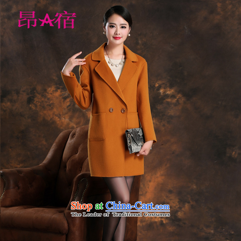 Daw Aung San Suu Kyi places by 2015 autumn and winter new woolen coat female Sau San double-side cashmere in temperament long coats jacket and red color L C150815
