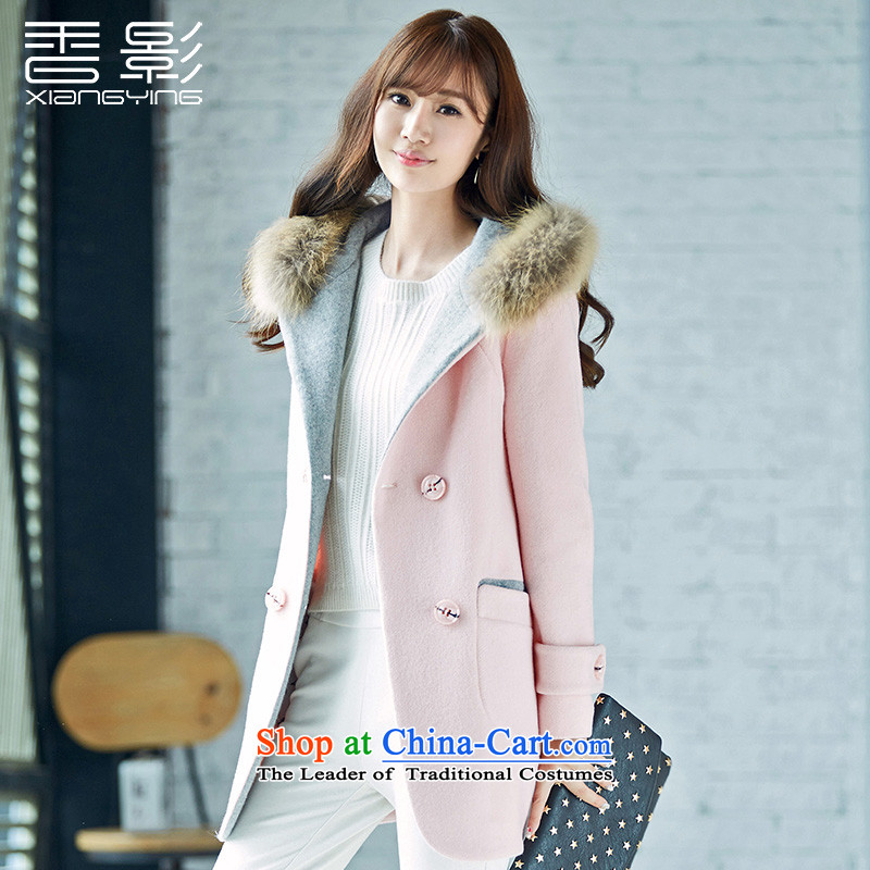 Double-jacket female incense gross? film 2015 winter clothing new long-sleeved gross collar cap a wool coat in the long pink聽L