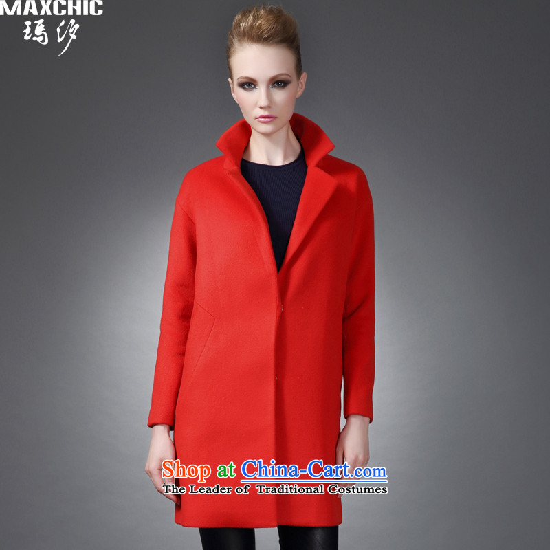 Marguerite Hsichih maxchic 2015 autumn and winter clothing for simple and stylish Lok rotator cuff ramp-bag long wool coat female of 20,022 Gibraltarians? The red-orangeXXL