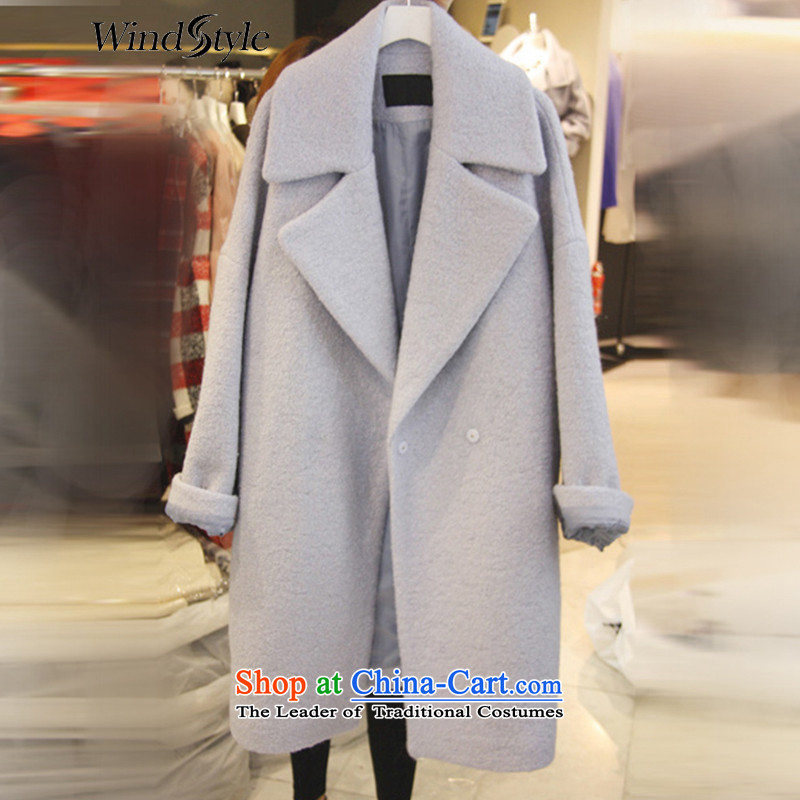 Ws2015 new autumn and winter boxed loose cocoon-Korea temperament gross? girls jacket long graphics thin cloak a wool coat 153129 Light Gray M