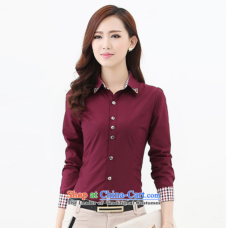 After the Rain early Qing larger plus lint-free t-shirt female winter shirts to increase long-sleeved shirt Liberal Women Code 2015 Spring new wine red velvet 5XL Plus