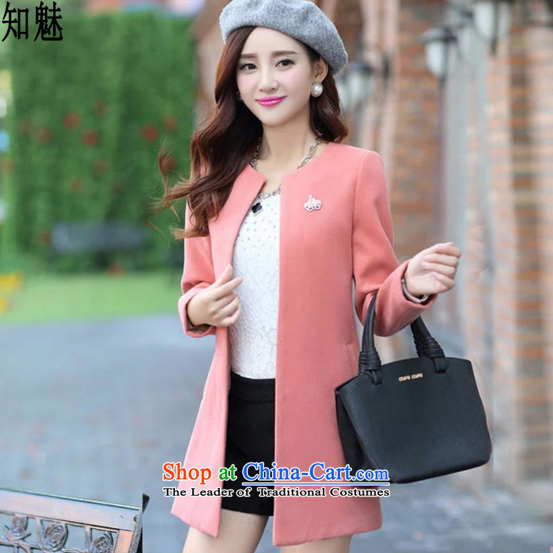 Aware of the solid color jacket women 2015 gross? autumn and winter new Korean version of large numbers in Sau San long Wild hair a wool coat 6006 pink M
