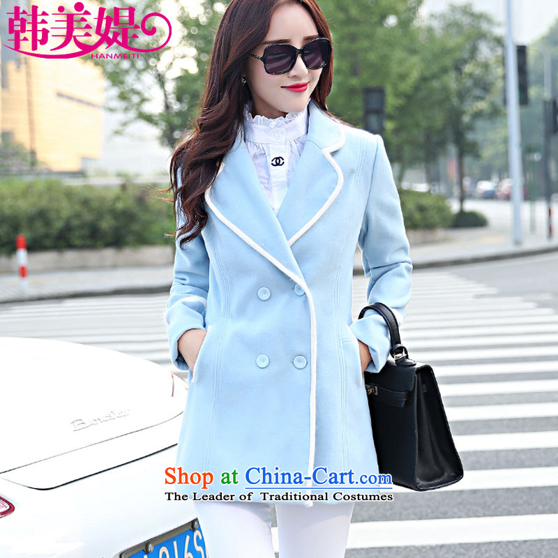 The Korea-U.S. customers  with new autumn 2015 Korean Sau San double-gross lapel female coat? long-sleeved sweater M015 BLUE XL