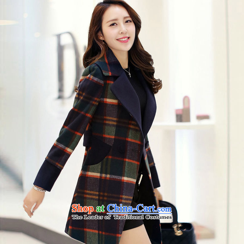 Recalling that the Korean version of Ms Elsie Leung female autumn and winter, double-sided, gross 707HPB navy blue coat?.燣