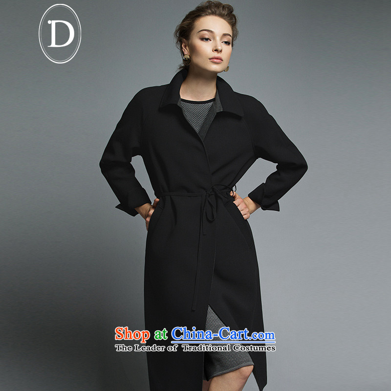 D of the 2015 Fall/Winter Collections of new products lapel rotator cuff-lap Europe long coats jacket retro girls black?M
