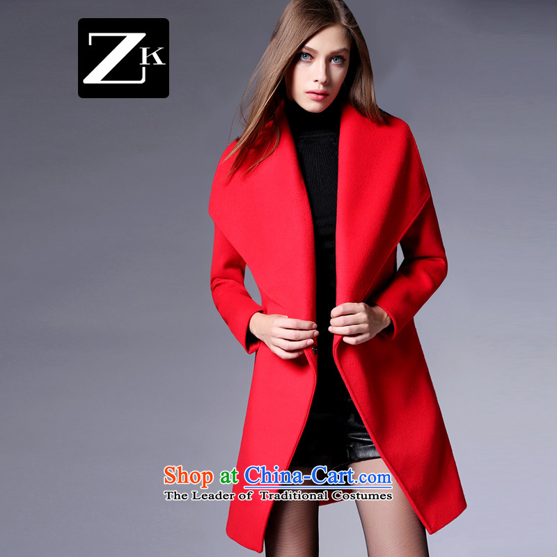 Zk Western women�15 Fall_Winter Collections new red with girls jacket? long sleek minimalist a wool coat RED燤