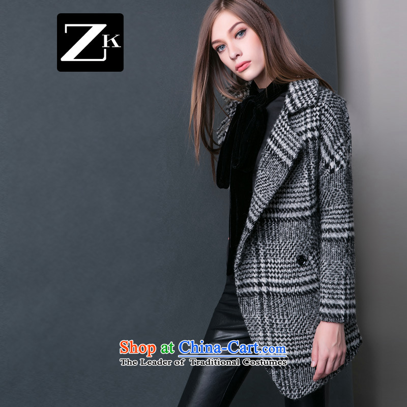 Zk Western women 2015 Fall/Winter Collections new suit for chidori grid gross? coats that long hair? jacket coat gray M Sub-ni