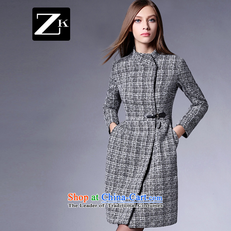 Zk Western women聽2015 Fall_Winter Collections new collar chidori grid gross? coats that long thin hair so Sau San video jacket gray聽S