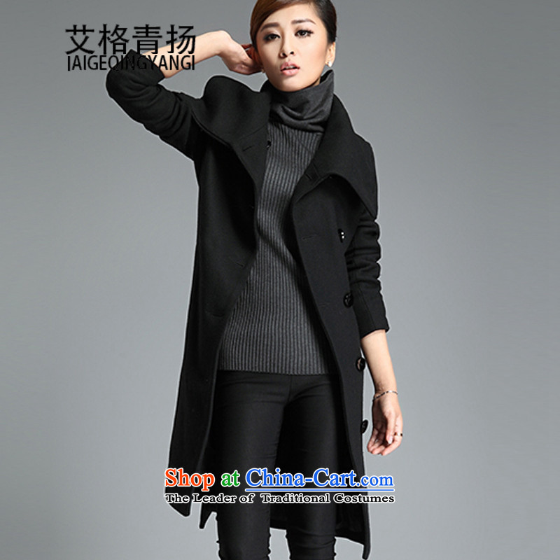 The Gloria Women's gross butted long? 2015 Fall_Winter Collections to xl thick mm thin Korean version of video a wool coat female black XXXL