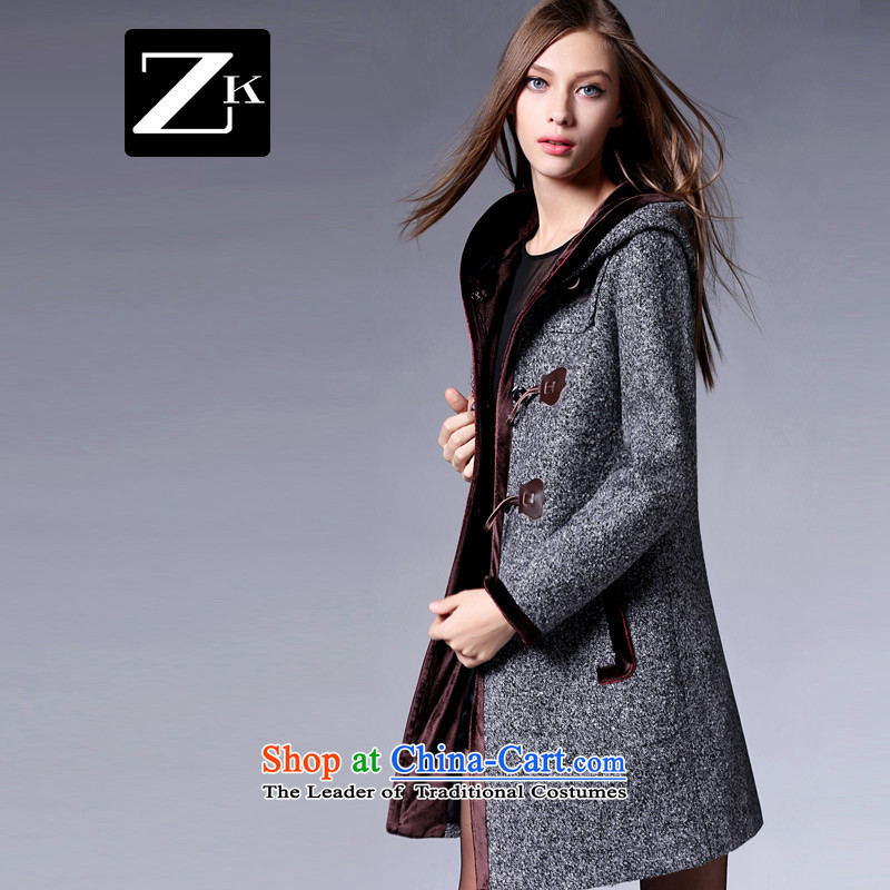 Zk Western women 2015 Fall_Winter Collections new cap horns clip hair? coats that long hair? jacket a wool coat gray M