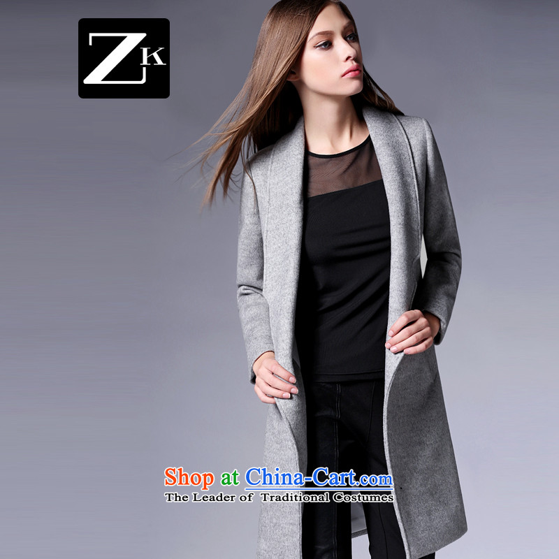 Zk Western women�15 Fall_Winter Collections new simple and stylish girl in gross? jacket long Sau San a wool coat Gray燣