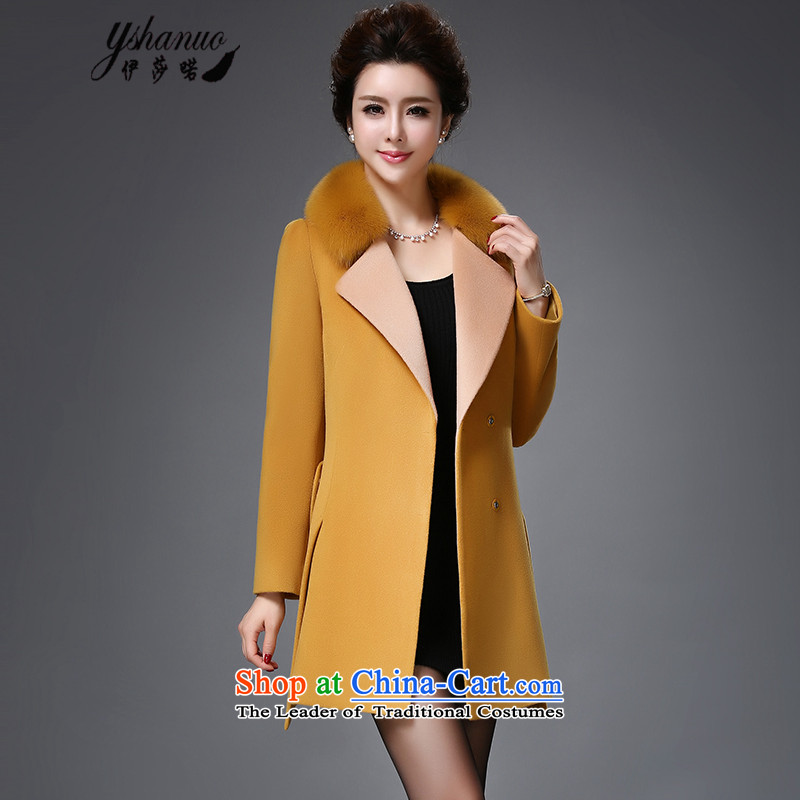 Isabel La Carconte 2015 autumn and winter coats new female luxuriant elegance for long Fox Gross Gross Fleece Jacket coat female YS1001? dark yellow L
