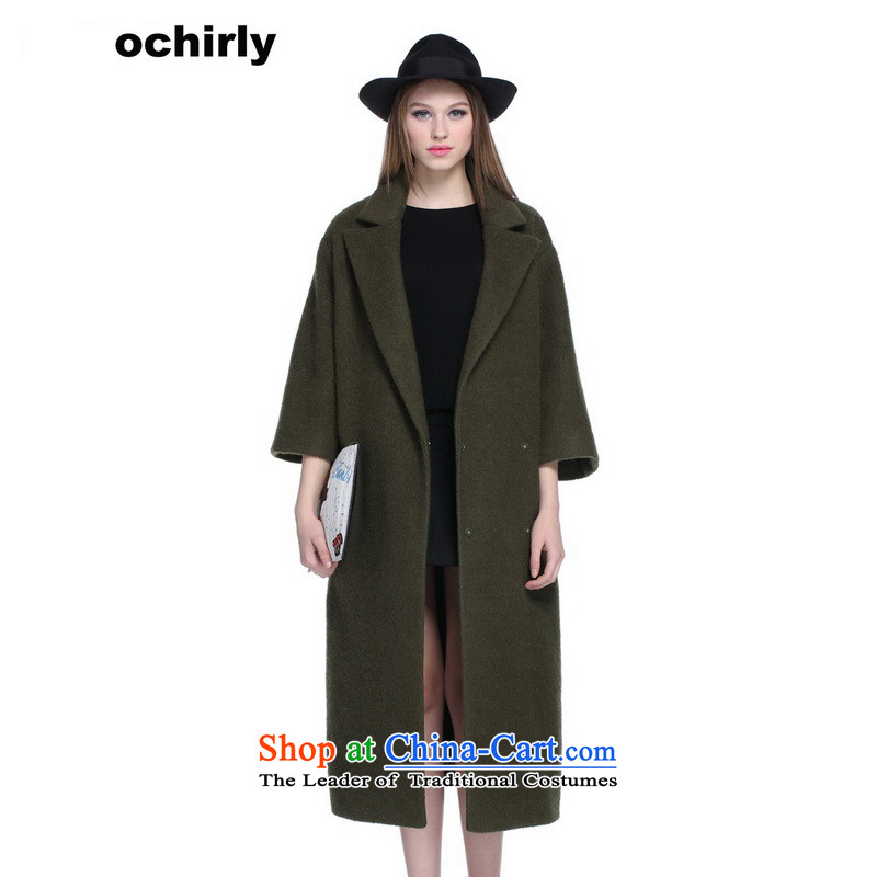 When the Euro 2015 Power ochirly new female autumn replacing plaque than the long fleece? overcoat Army Green 520 XS_155_80A_ 1153343500