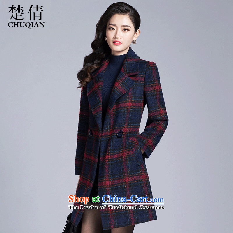 Chor Chien�15 Autumn In New Long temperament grid long-sleeved red jacket? gross elegant,燣