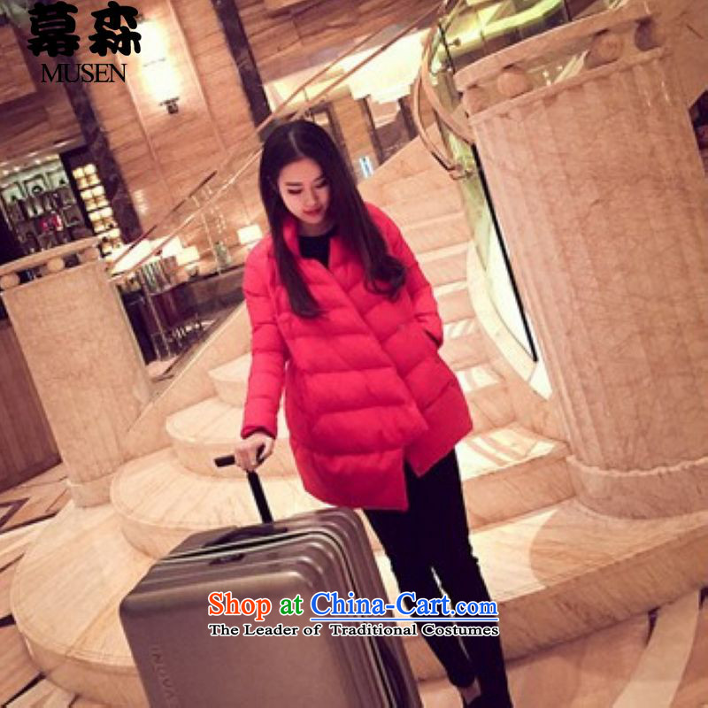The sum爋f the Korean version of the 2015 Winter Olympics long-sleeved loose robe cotton larger thick coat shirt red燲L
