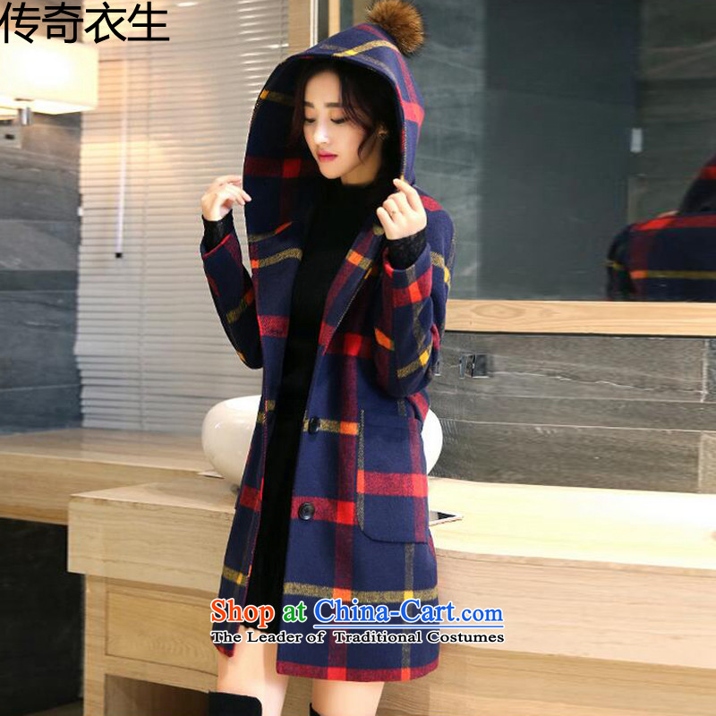 The legend of the hygiene of Yi 2015 autumn and winter coats female new women Korean single row clip grid gross? butted long thick hair? coats of female C9741 red and yellow     M