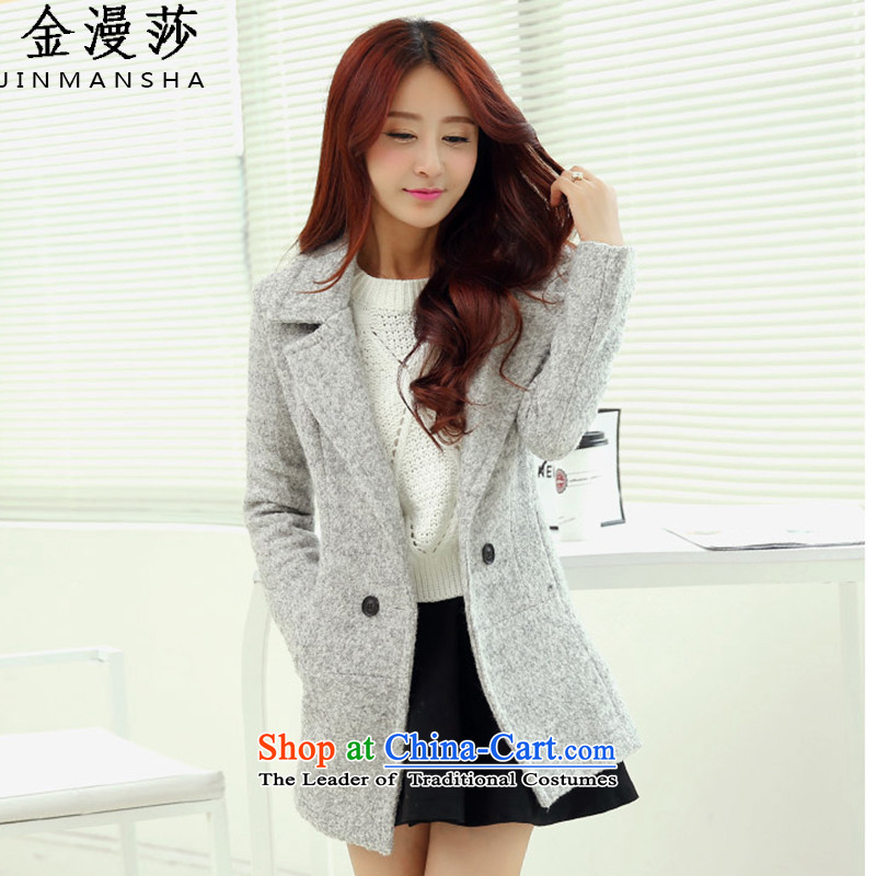 Kim Man Windsor gross coats female Korean?   Graphics in the medium to long term, thin hair? jacket Female Light Gray燣