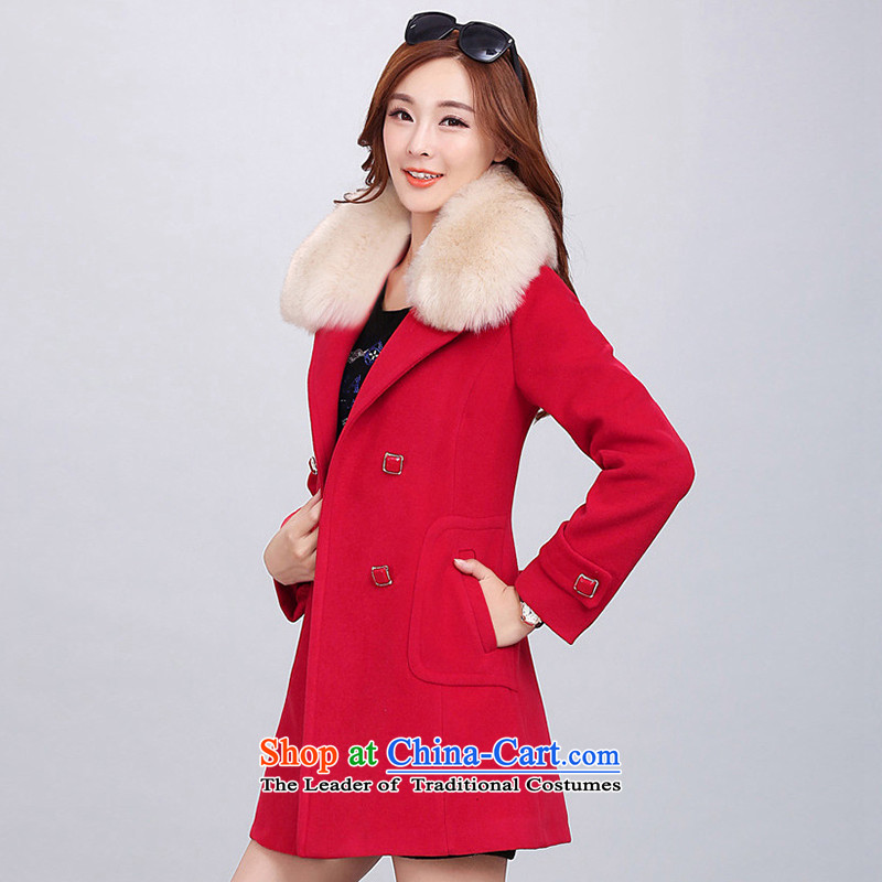Kim man in Sha long wool coat female Korean?   Graphics thin on the Nagymaros stylish collar? The windbreaker gross? _with gross female jacket_ Red燣