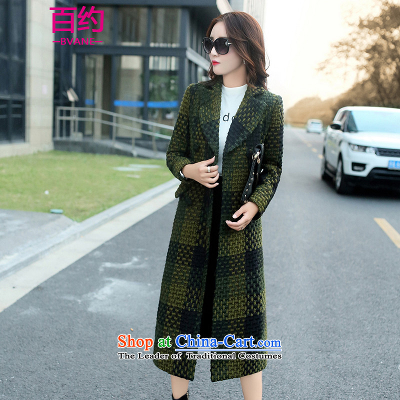 About the New 2015, hundreds of autumn and winter load temperament lapel long-sleeved Korean squares gross? Long Female coats thin wool a graphics jacket female green XXL
