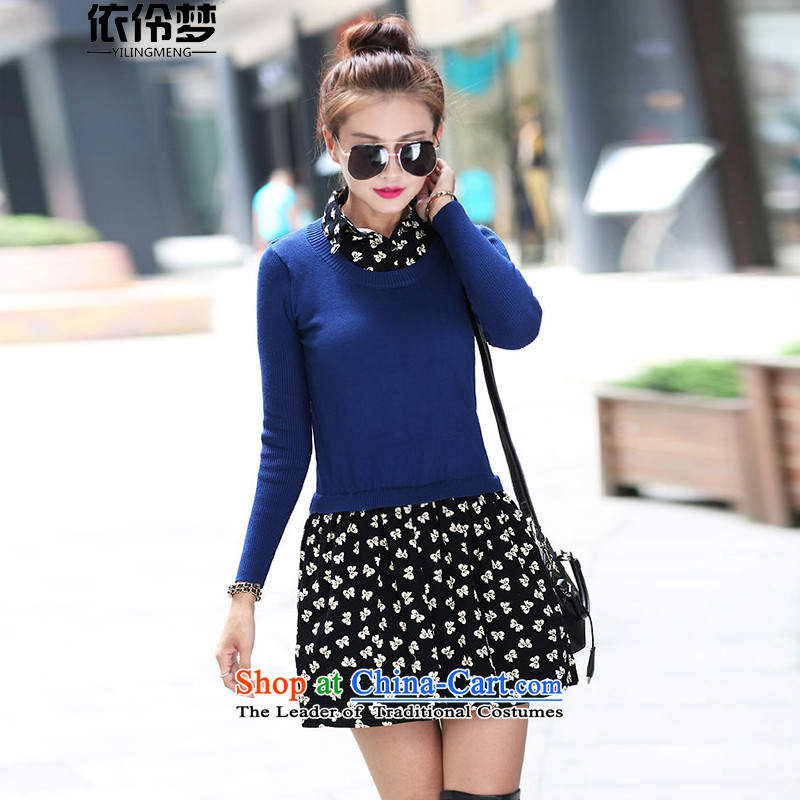 In accordance with the 2015 autumn dreams, Nadia Korean version of the new Fat MM maximum number of ladies' knitted shirts female sweater stitching stamp skirt 608# blue 4XL