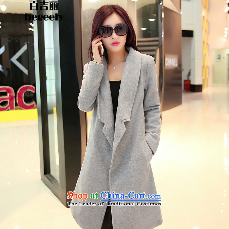 Hundreds of Gil Lai 2015 winter coats new gross? lapel cotton waffle in Sau San plus long temperament children? jackets Gray燣