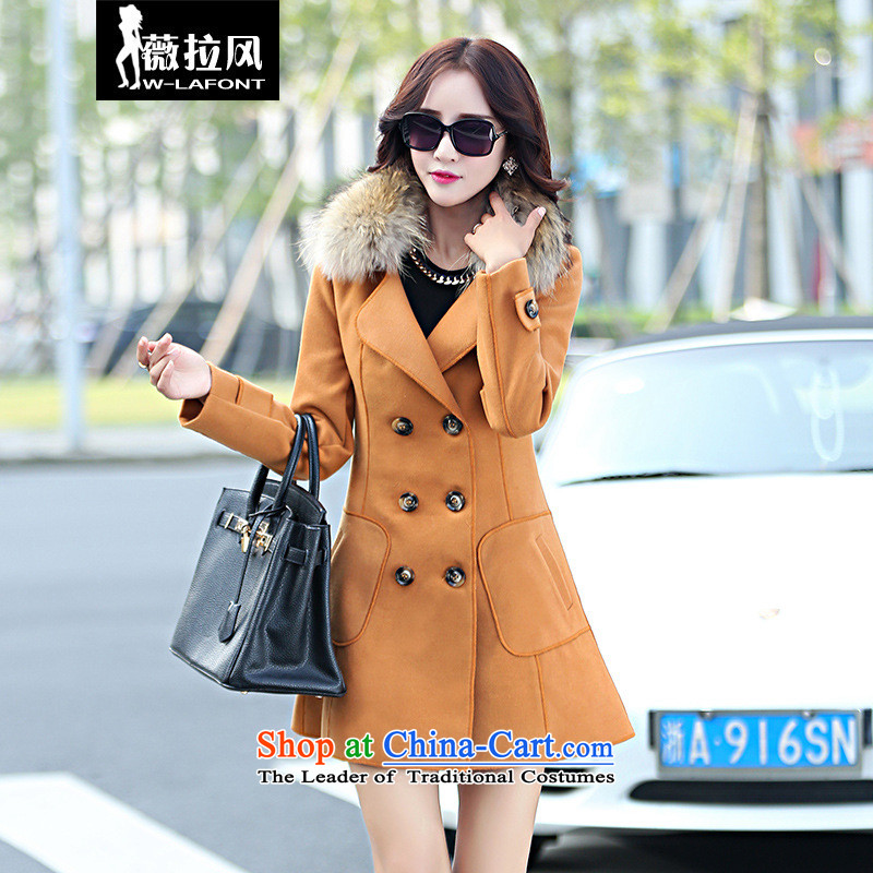 2015 Autumn wind Vera new Korean version of large roll collar double-wool really gross collar temperament Sau San Foutune of video a thin coat of gross? a winter and color jacket female M