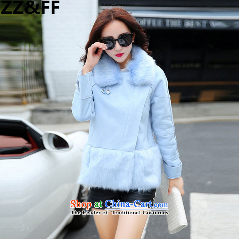 The new winter 2015 Zz_ff Korean girl who decorated stylish thin hair for video gross?聽3007聽light blue聽S Coats