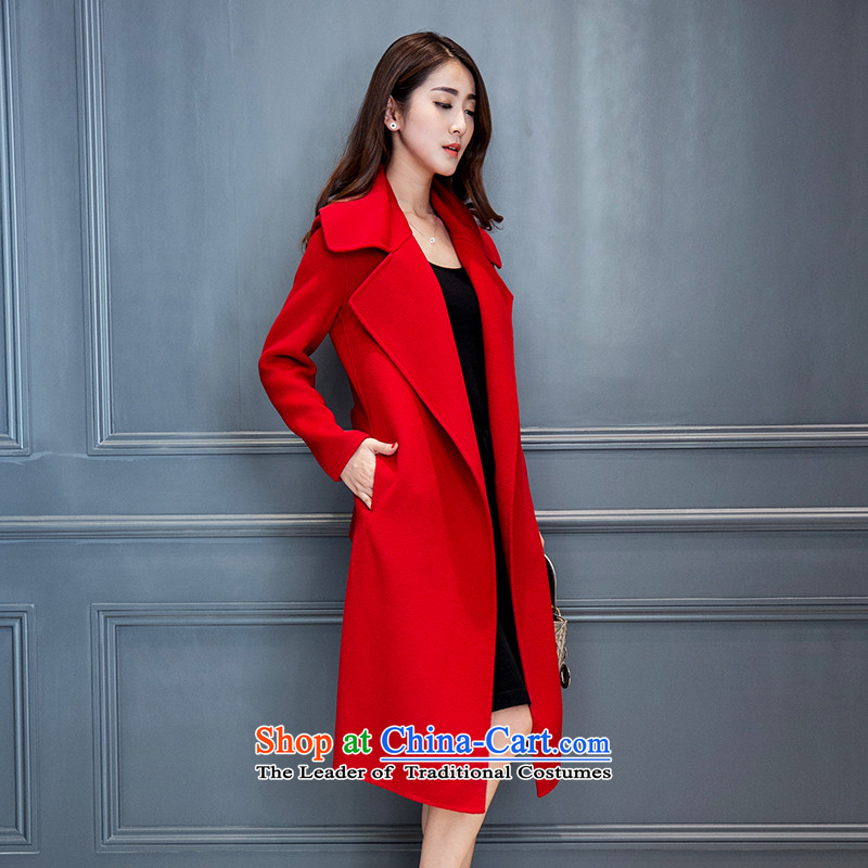 Mrs Yi No. 2-sided princess cashmere cloak of autumn and winter 2015 new Korean big reverse collar in Sau San long coats of large thickened? jacket coat female red燬