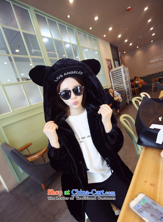 2015 Autumn winter new Korean version of large numbers of ladies thick MM loose, Hin thin, thick cotton coat cardigan thick Korean thick fluffy in sister long cotton jacket Black XL Photo, prices, brand platters! The elections are supplied in the national character of distribution, so action, buy now enjoy more preferential! As soon as possible.