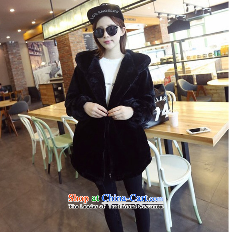 2015 Autumn winter new Korean version of large numbers of ladies thick MM loose, Hin thin, thick cotton coat cardigan thick Korean thick fluffy in sister long cotton jacket for the tide line Black XL, LINXCR () , , , shopping on the Internet