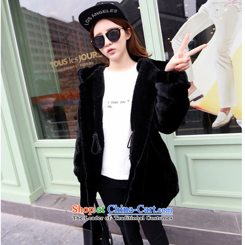 2015 Autumn winter new Korean version of large numbers of ladies thick MM loose, Hin thin, thick cotton coat cardigan thick Korean thick fluffy in sister long cotton jacketfor the tide line Black XL, LINXCR () , , , shopping on the Internet