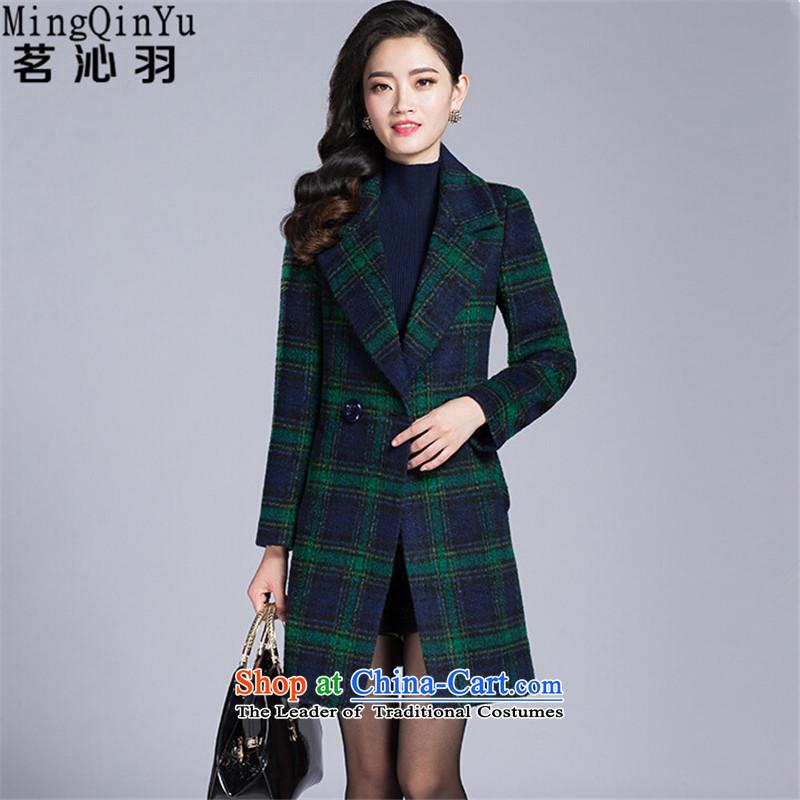 Tea Culture Qinyang Yu 2015 autumn and winter new gross? coats that long temperament grid long-sleeved jacket Green Grid gross?燣