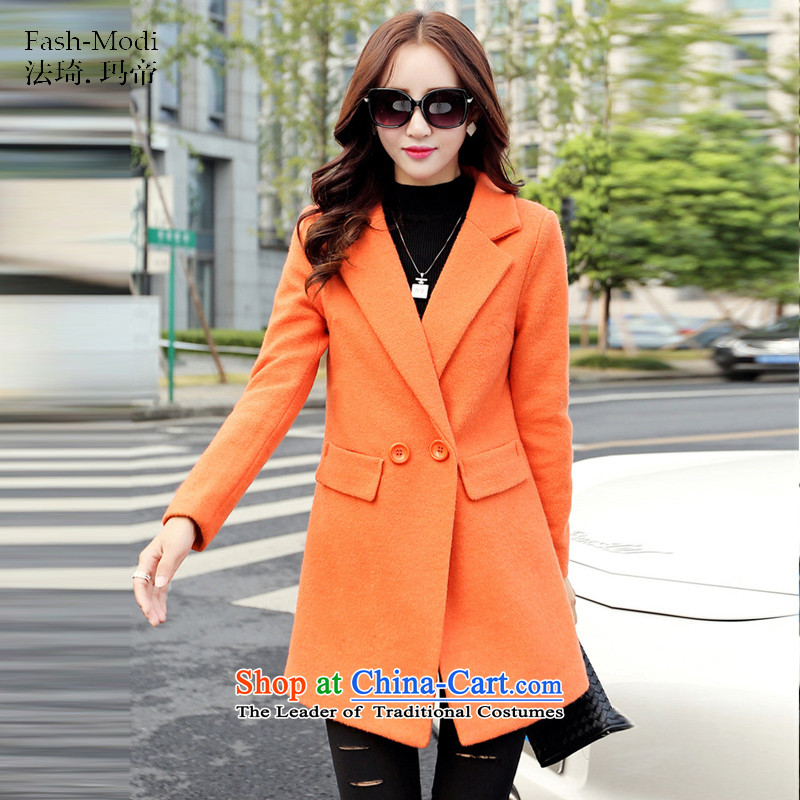 The law was in Dili Qi 2015 winter clothing new Korean fashion, long double-Sau San video thin thick hair fall/winter coats girl child?? jacket orangeM