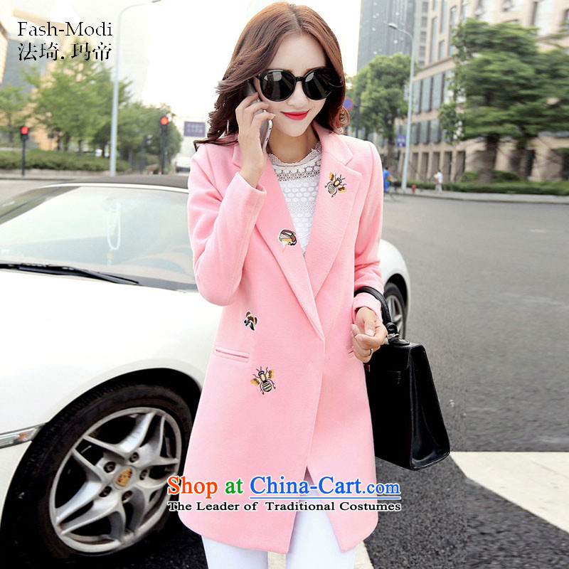 The law was in Dili Qi 2015 winter clothing new Korean version of Sau San video thin thick autumn and winter coats the girl is about gross sub-jacket pink?L