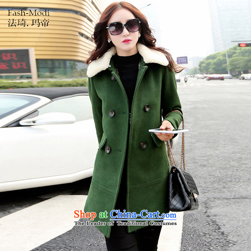 The law was in Dili Qi 2015 winter clothing new Korean version of double-lambs for Sau San video thin hair thick hair fall_winter coats girl child?? jacket green M