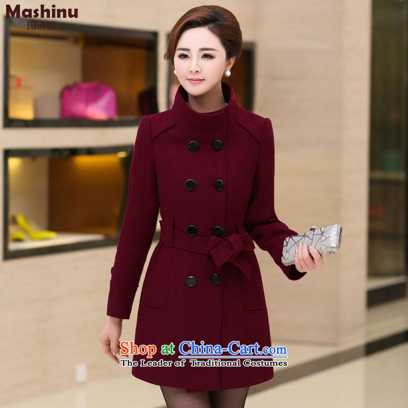Mary JaneWinter 2015 poem new large high-end double-wool coat female jacket?   Mock-neck BOURDEAUXL
