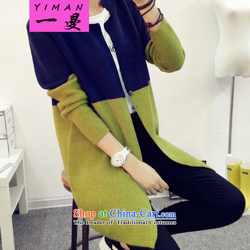 A Cayman larger autumn and winter jackets to the new 2015 XL Graphics thin knitted jackets in mm thick long knitting cardigan Navy Blue + green 3XL/ recommendations 160-185 catty
