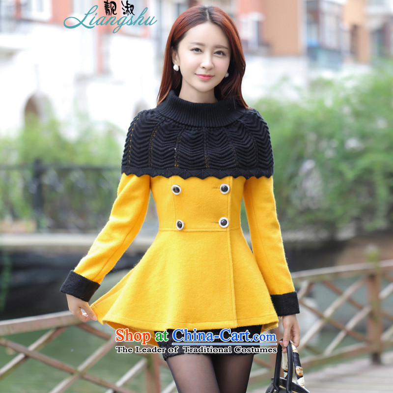 Mrs 2015 autumn and winter talks with the new Korean fashion round-neck collar A OL vocational double-pure color coats girl about what gross jacket yellow?L