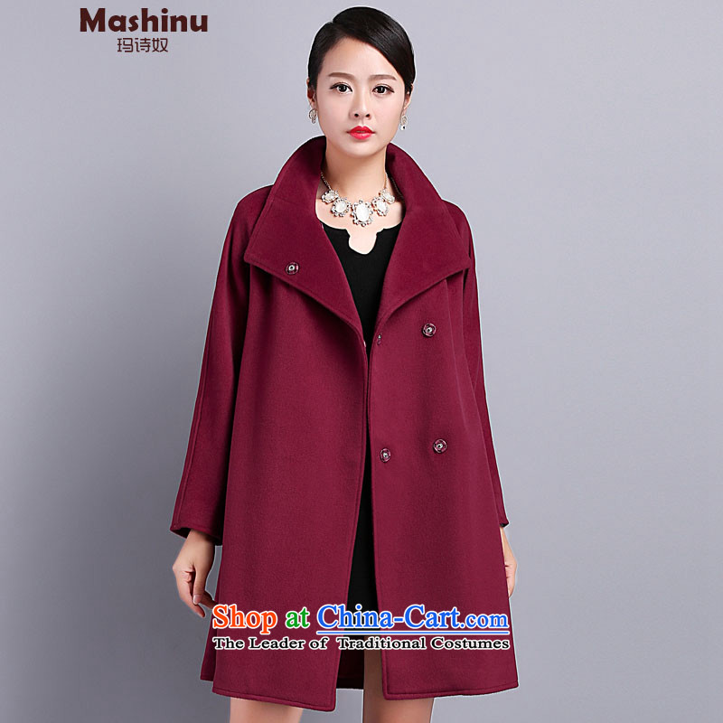 Mary Jane聽Winter 2015 poem new larger cloak-wool coat female jacket is double-high-end cashmere overcoat bourdeaux _-to large concept small code_ M